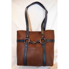 Snaffle Bit Bag with Navy Handles and Accent